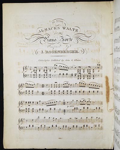 The Favourite Almacks Waltz for the Piano Forte [and] The New Vienna Waltz. J. Rosenberger.