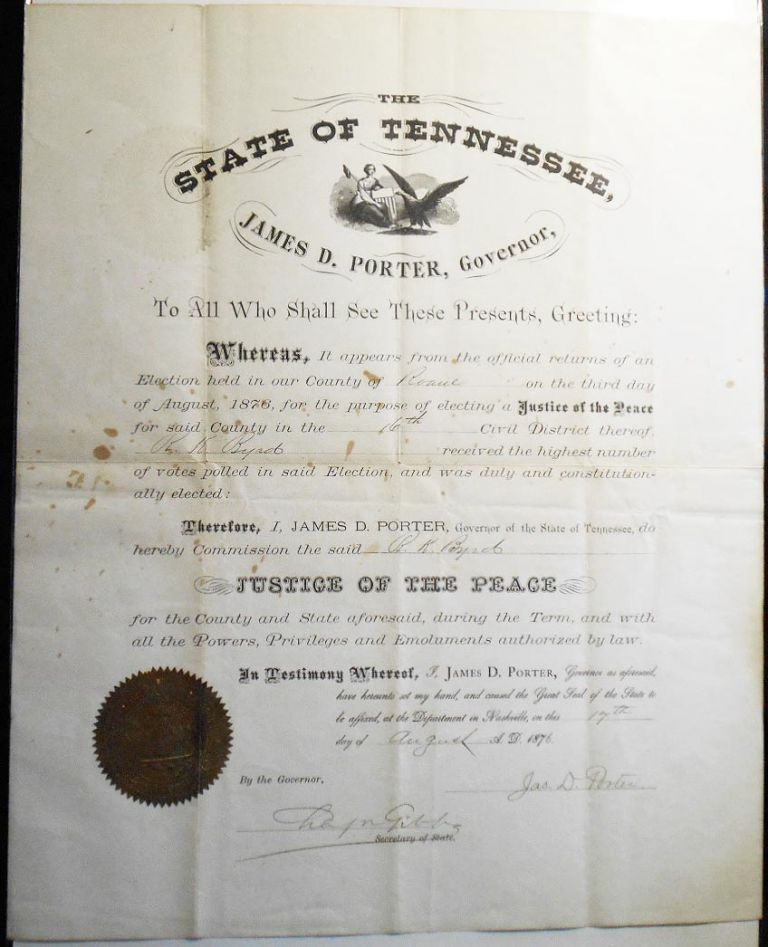 Justice of the Peace Commission from Governor James D. Porter of Tennessee to R. K. Byrd of Roane County [Robert King Byrd ]