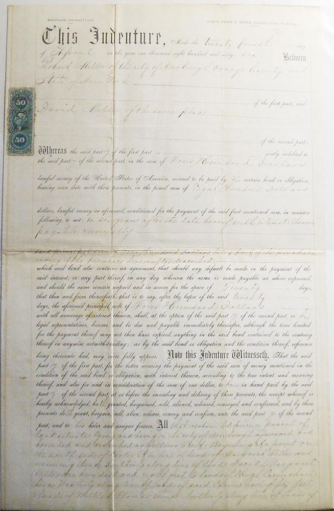 Indenture made April 24, 1866, between Robert Miller of Newburgh, N.Y., and David Miller of Newburgh, N.Y. [mortgage for Carter St. property]
