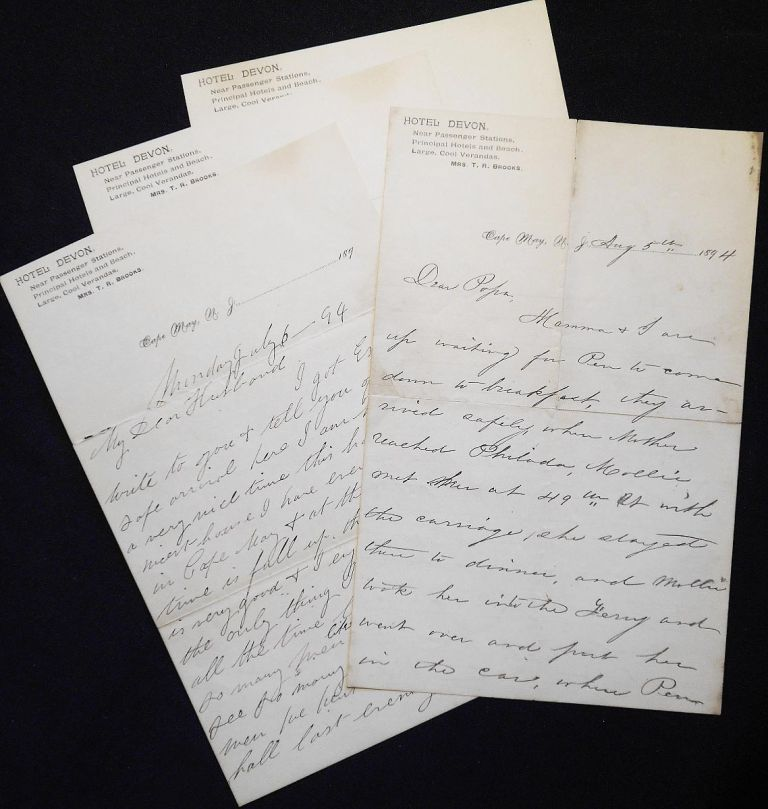 Handwritten letters on stationary of the Hotel Devon in Cape May, N.J., 1894. M. H. Collins.