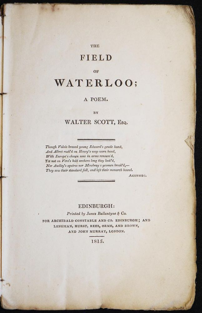 The Field of Waterloo: A Poem by Walter Scott. Walter Scott, Sir.