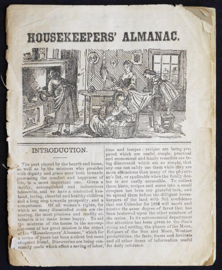 The Housekeepers' Almanac [for 1884]