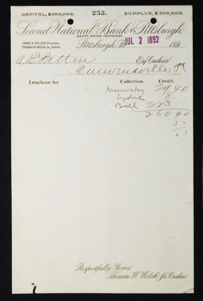 Second National Bank of Pittsburgh, United States Depository [letterhead] 1892 addressed to Alexander Ennis Patton