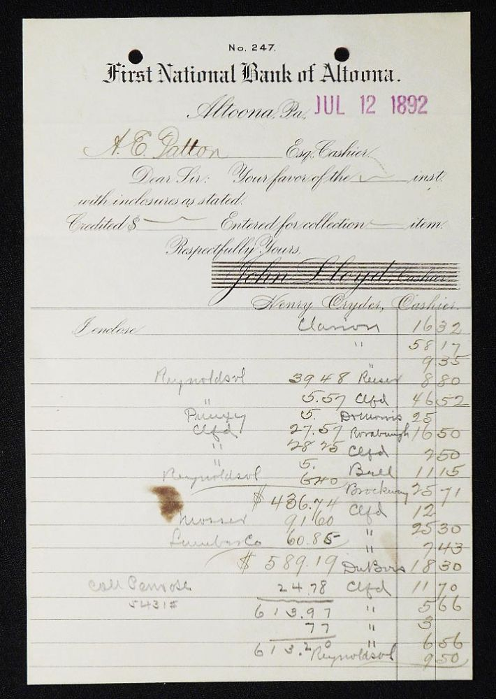 First National Bank of Altoona [letterhead] 1892 addressed to Alexander Ennis Patton