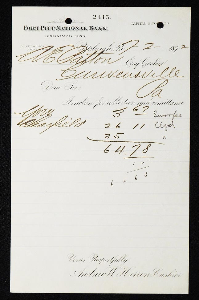 Fort Pitt National Bank [letterhead] 1892 addressed to Alexander Ennis Patton