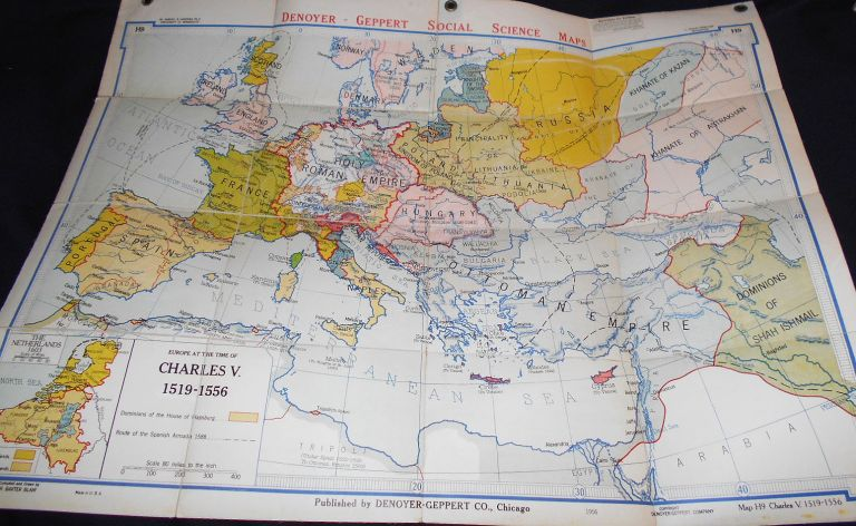 Europe at the Time of Charles V 1519-1556 (Denoyer-Geppert New Social Science Map H9) by Samuel B. Harding; compiled and drawn by R. Baxter Blair. R. Baxter Blair, Samuel B. Harding.