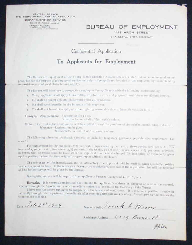 Confidential Application [application for employment to YMCA Department of Service]. Frank C. Weaver.