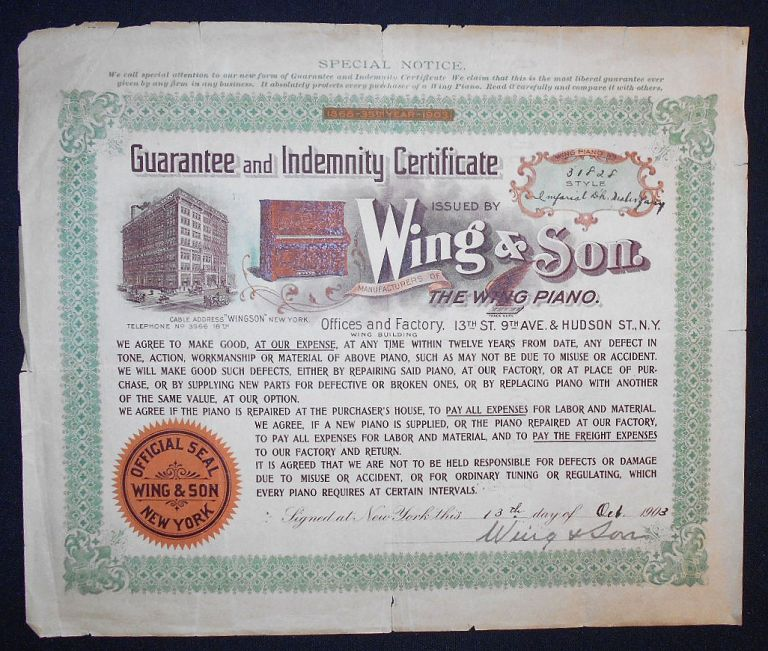 Guarantee and Indemnity Certificate Issued by Wing & Son
