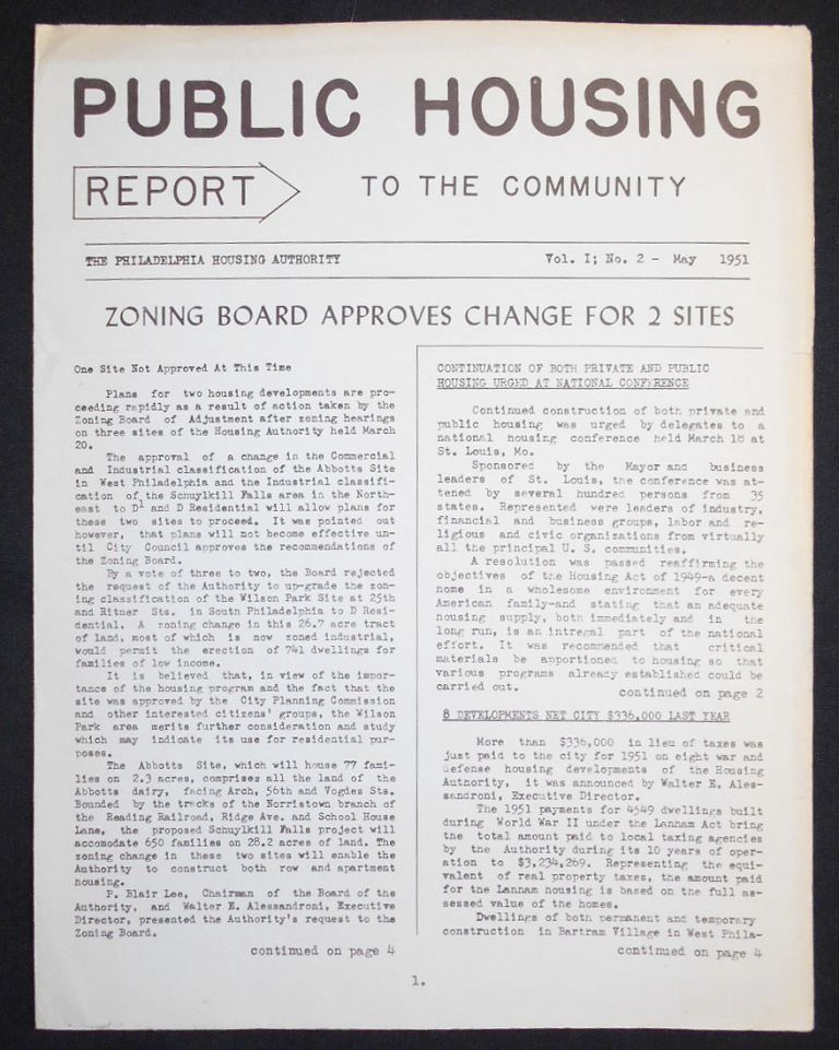 Public Housing Report to the Community May 1951, vol. 1 no. 2