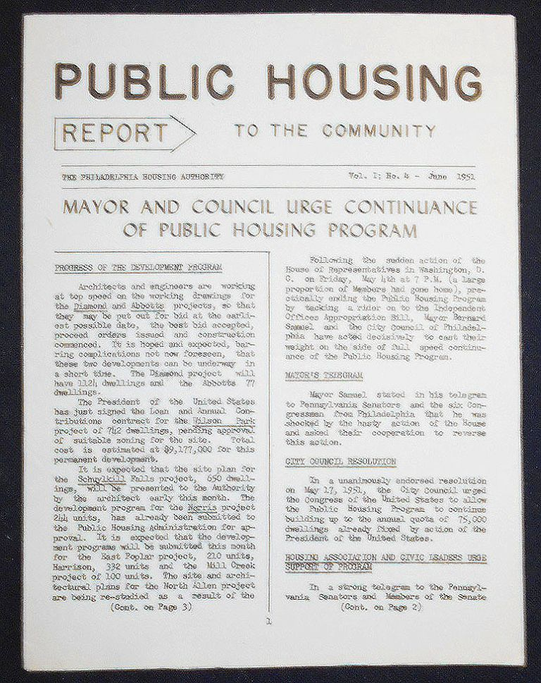 Public Housing Report to the Community June 1951, vol. 1 no. 4
