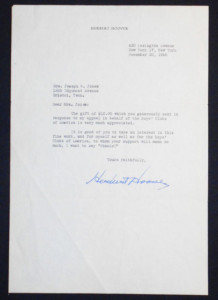 1 typed letter, signed by President Herbert Hoover, on his personal stationery. Herbert Hoover.