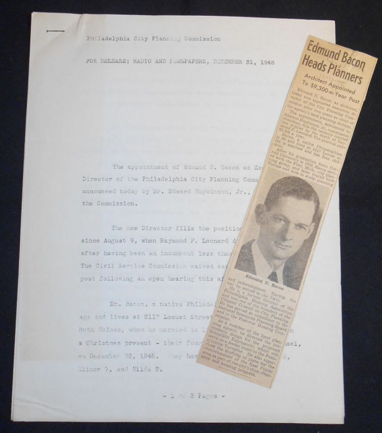 Philadelphia City Planning Commission Press Release for Appointment of Edmund Bacon as Executive Director with newspaper clipping