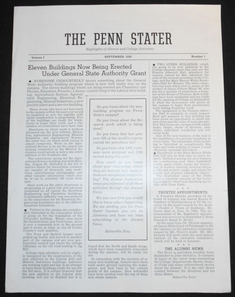 The Penn Stater: Highlights of Alumni and College Activities: September 1938, vol. I, no. 1