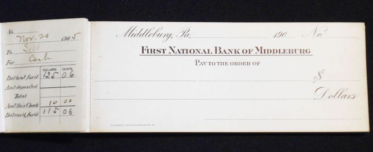 First National Bank of Middleburg Checkbook 1905