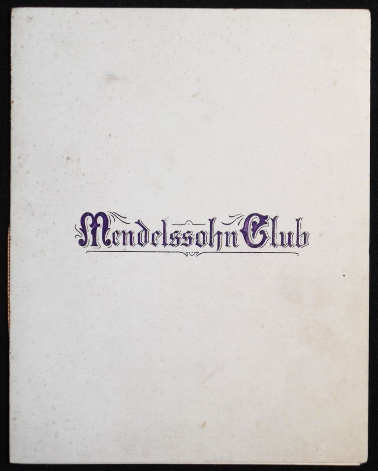 Mendelssohn Club program -- April 28, 1898