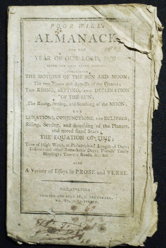 Poor Will's Almanack, For the Year of Our Lord, 1809