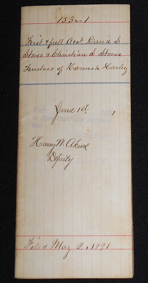 1890 Account of David S. Stover and Christian S. Stover, trustees of Hannah Harley under the Will of Jacob K. Stover