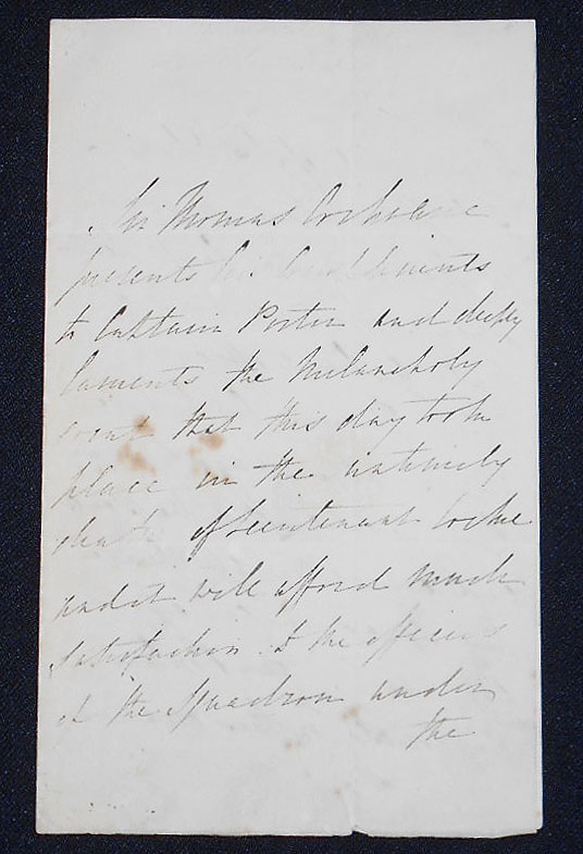 Handwritten letter to Captain Porter concerning the accidental death of Lieutenant Cocke on the American ship Fox in the port of San Juan, Puerto Rico. Thomas Cochrane.