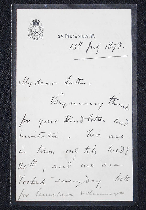 Handwritten letter on Naval and Military Club stationery, 13 July 1898. Bindon Blood.