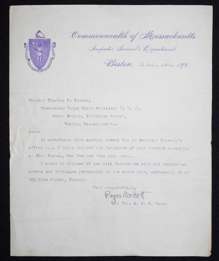 Typed letter, signed by Lt. Col. Roger Wolcott, Assistant Inspector General, to Col. Charles P. Nutter, Coast Artillery. Roger Wolcott.