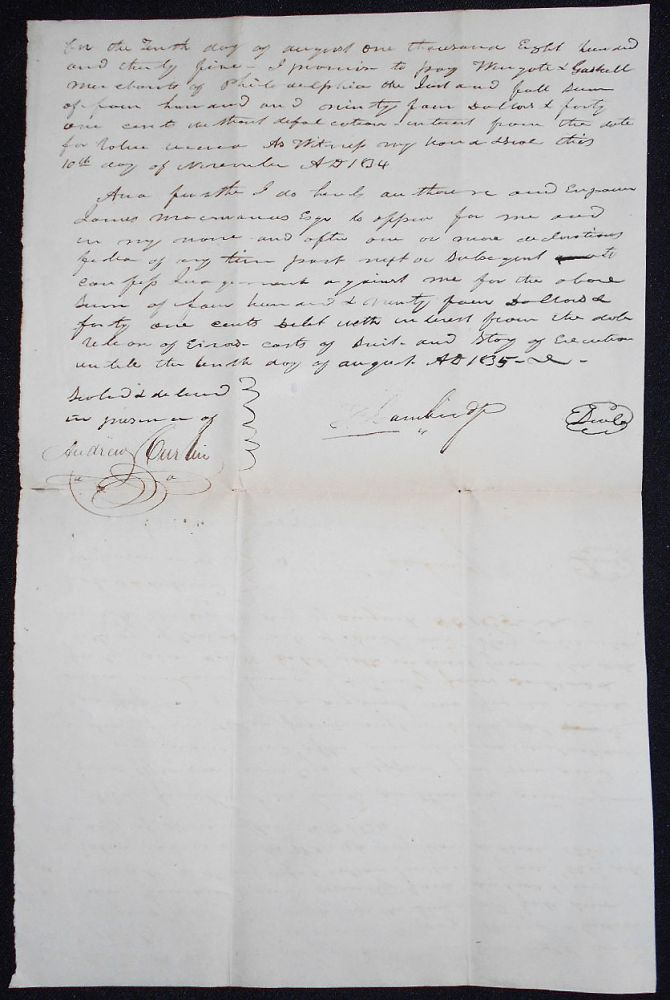 Handwritten Bond: P. Cambridge will pay to Wingate & Gaskell, merchants of Philadelphia, $494.41 by 10 Aug. 1835. Patrick Cambridge, Andrew Curtin signature.