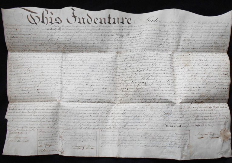 Handwritten Vellum Indenture for Sale of Woodland in Providence Township, Montgomery Co., by Margaret Cauffman to Isaac Overholtzer. Margaret Cauffman, Mark Willcox.