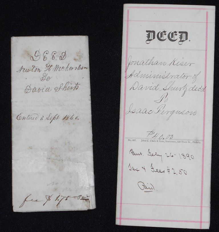Two Documents relating to David Shurtz of Juniata County. David Shurtz, Newton H. Wickersham.