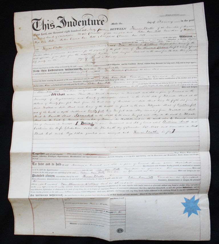 Proposed Mortgage between Thomas Butler and the Rev. Peter Van Pelt. Thomas Butler, Peter Van Pelt.