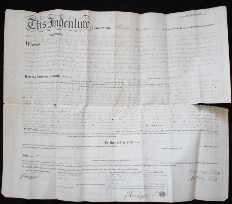 Deed for Sale of Land in Delaware Township, Juniata County, Pa. Henry Cross, Albert Gray, J. Middagh, James B. Mode.