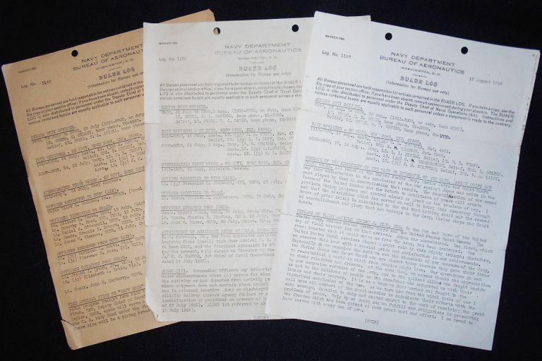 3 BuAer Logs from the Navy Department, Bureau of Aeronautics. James Forrestal, Ernest J. King, Mildred H. McAfee.