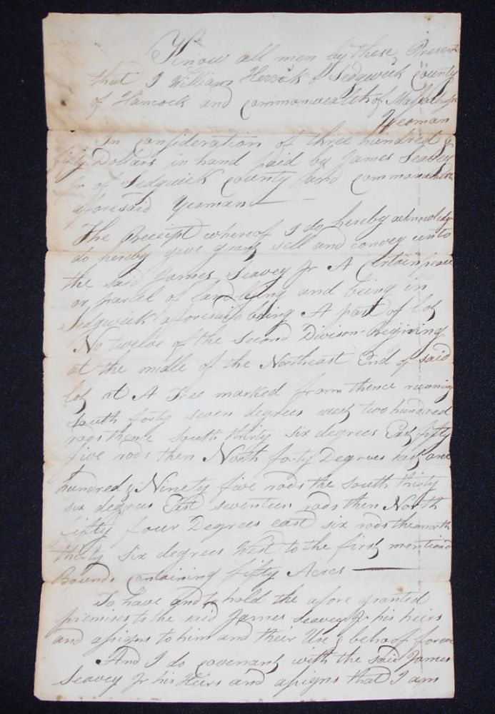 Handwritten Deed for part of Lot #12 in the Second Division of Sedgwick, Hancock County, Maine. William Herrick, David Thurston, Mehitable Thurston.