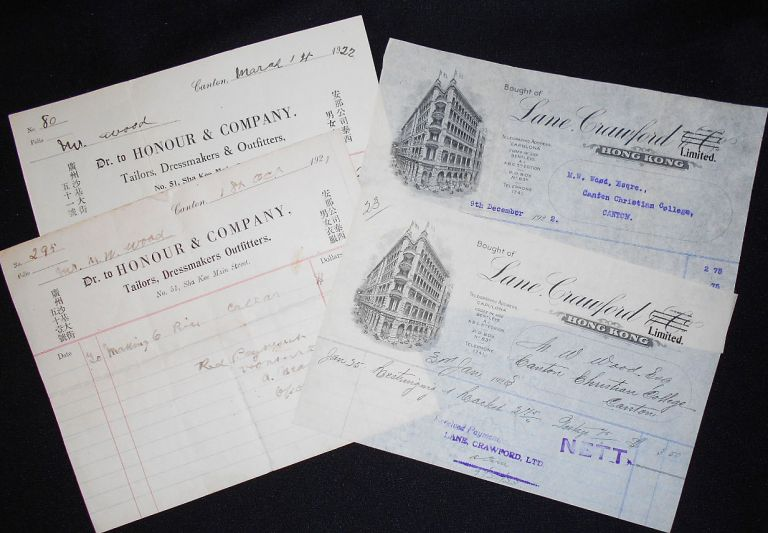4 Receipts for Expenses in Canton and Hong Kong, 1921-1922. Morris Wistar Wood.
