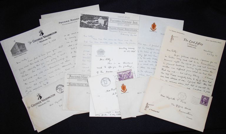 Six Letters to Elizabeth T. Price (Betty Price), 1931-1937, from friend D.L.B. about travel and golfing on hotel stationery. Elizabeth T. Price.