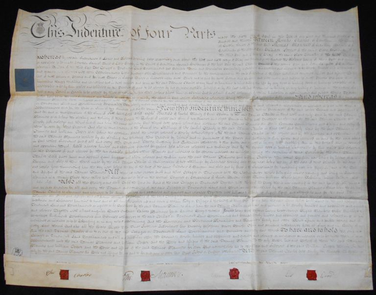 Handwritten Parchment Deed for sale of Six Cottages in Grantham, Lincolnshire. Thomas Charles, Thomas Manners.
