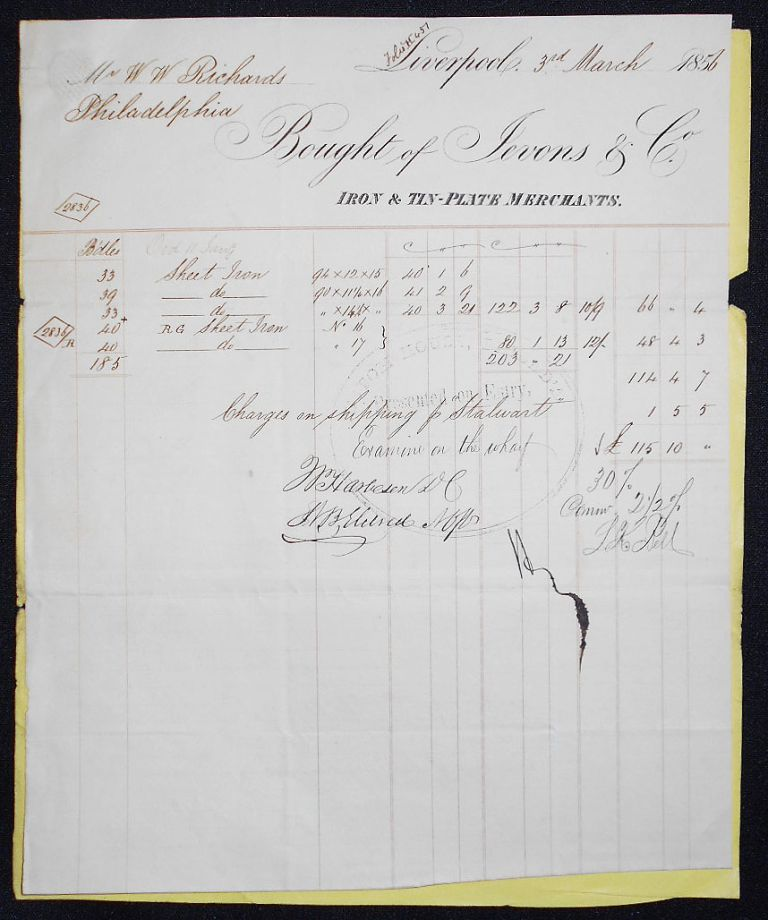 Receipt and Shipping Document for Sheet Iron Imported from Jevons & Co., Liverpool. William W. Richards.