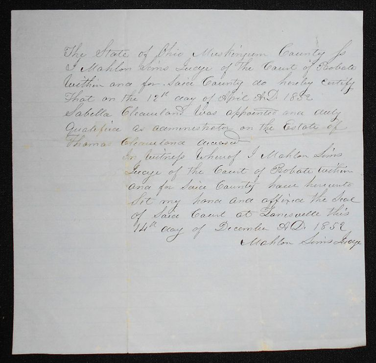 Handwritten Certification by Judge Mahlon Sims of Sabella Cleaveland as Administrator of the Estate of Thomas Cleaveland. Mahlon Sims.