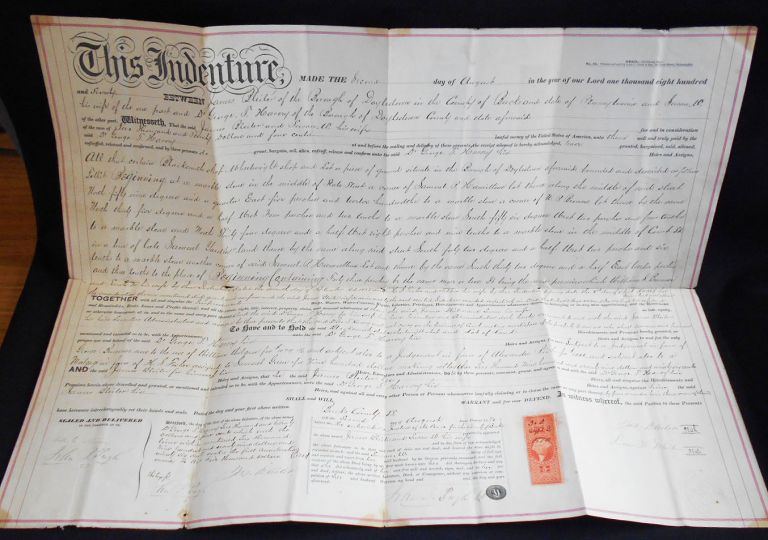 Printed and Handwritten Deed for Property in Doylestown, Pa., Sold by James and Susan Bleiler to Dr. George T. Harvey. James Bleiler, Susan, Bleiler, George T. Harvey.