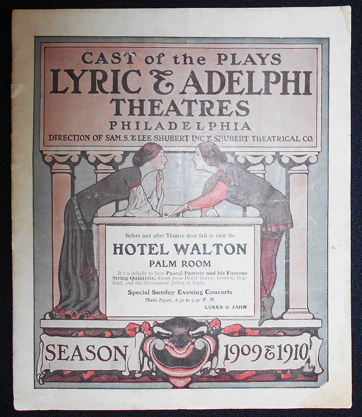 "Lyric & Adelphi Theatres Playbill 1910: ""The Easiest Way"" at the Lyric Theatre starring Frances Starr, and ""The Melting Pot"" at the Adelphi Theatre starring Walker Whiteside"