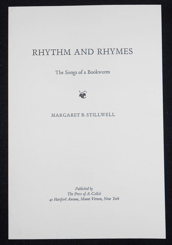 Prospectus for Rhythm and Rhymes: The Songs of a Bookworm by Margaret B. Stillwell