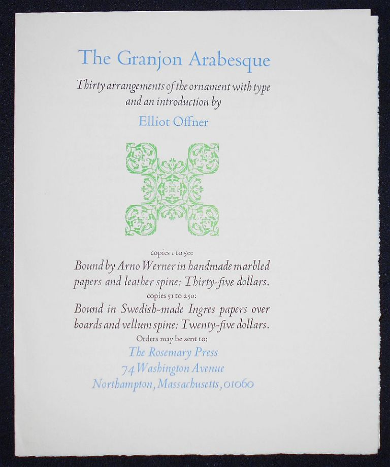 Prospectus for The Granjon Arabesque: Thirty Arrangements of the Ornament with Type and an Introduction by Elliot Offner
