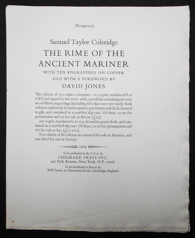 Prospectus for The Rime of the Ancient Mariner by Samuel Taylor Coleridge with Ten Engravings on Copper and with a Foreword by David Jones