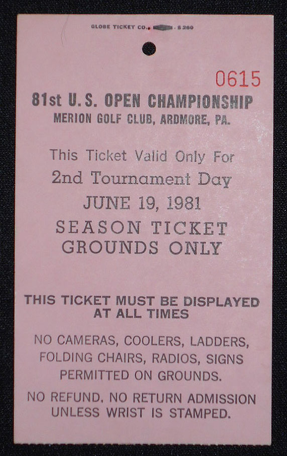 81st U.S. Open Championship, Merion Golf Club, Ardmore, Pa., Ticket for June 19, 1981