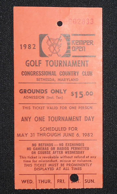 1982 Kemper Open, Congressional Country Club, Bethesda, Md., Ticket for June 5, 1982
