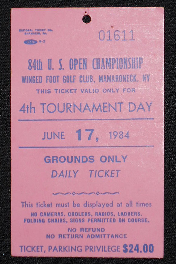 84th U.S. Open Championship, Winged Foot Golf Club, Mamaroneck, N.Y., Ticket for June 17, 1984