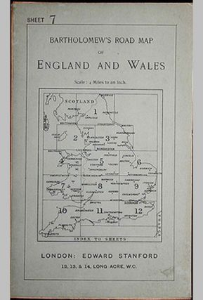 Bartholomew's Four Miles To the Inch Road Map of England and Wales: New Series Sheet 7: Southern...