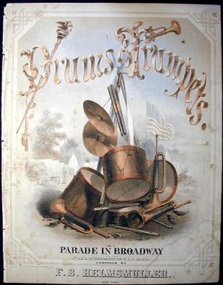 Drums & Trumpets, or A Parade in Broadway of the 7th, 22d, & 71st regiments of N.Y.S. Militia. F. B. Helmsmüller.