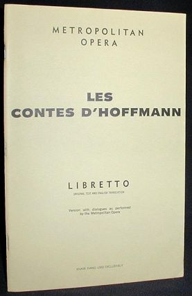 Les Contes d'Hoffmann: Opera in Three Acts Prologue and Epilogue [Libretto]. Jules Barbier.