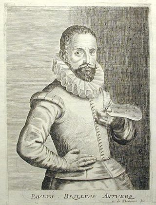 Engraved Portrait of Flemish artist Paul Brill (1554-1626) by Esme de Boulonois. Isaac Bullart