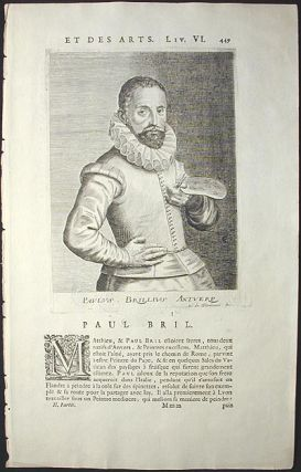 Engraved Portrait of Flemish artist Paul Brill (1554-1626) by Esme de Boulonois