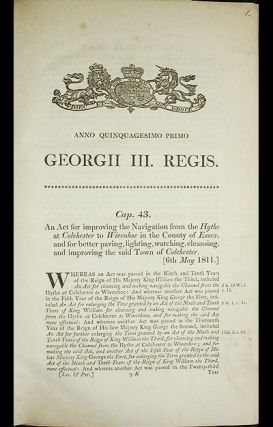Colchester Navigation and Improvement Acts [6 Acts of Parliament enacted in 1811, 1845, and 1847, bound together]